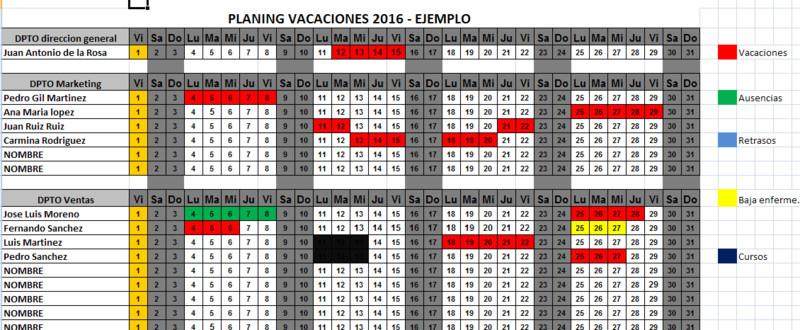 imagen 1 de calendario excel vacaciones por departamento 2016