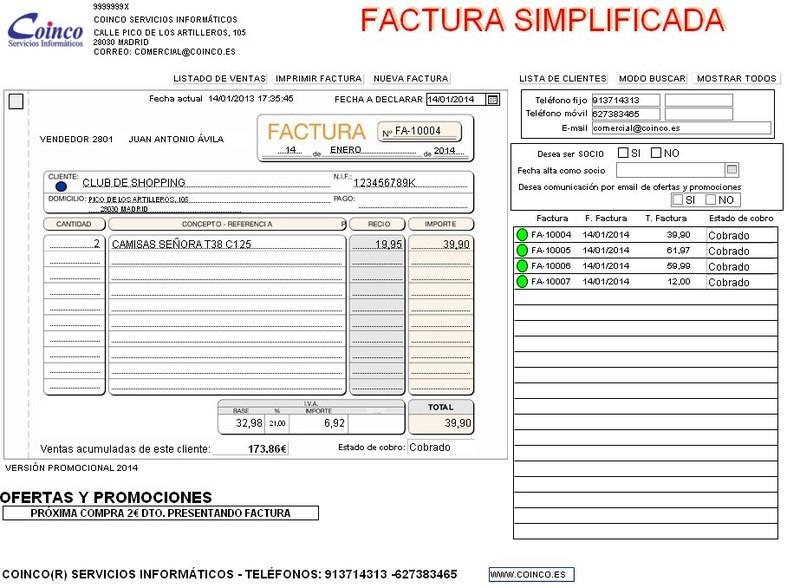factura simplificada 2014 opiniones precios y demo