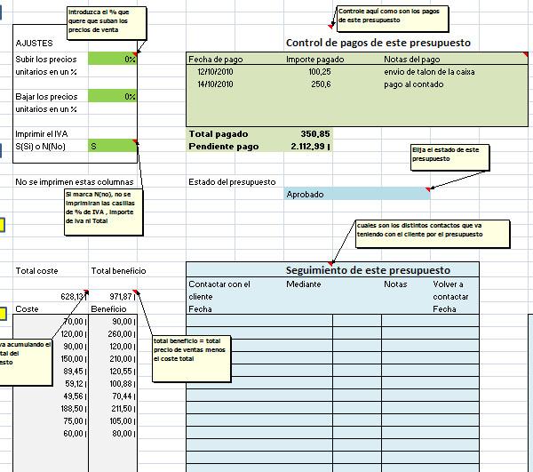 Presupuesto con descripci n libre excel opiniones for Presupuesto para una pileta de material