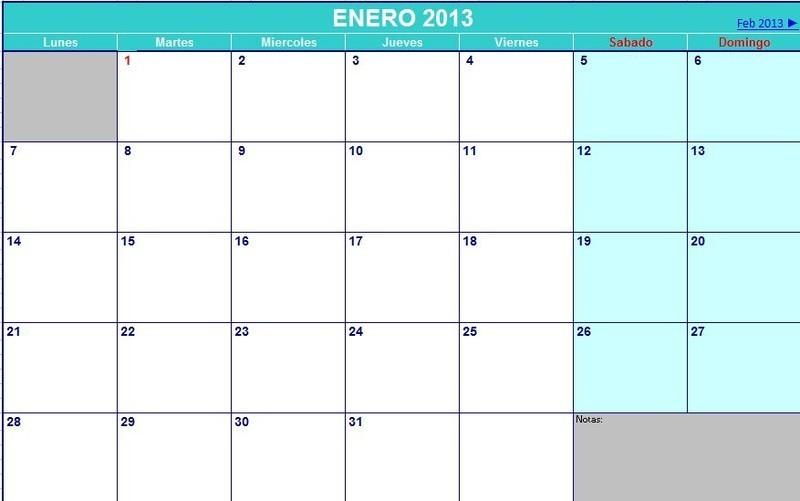 calendario agenda 2013