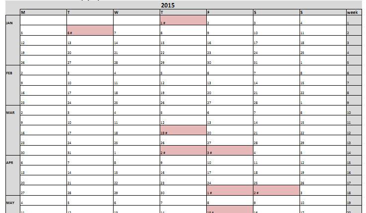 excel con calendario laboral 2015 espa u00f1a y hoja plan anual