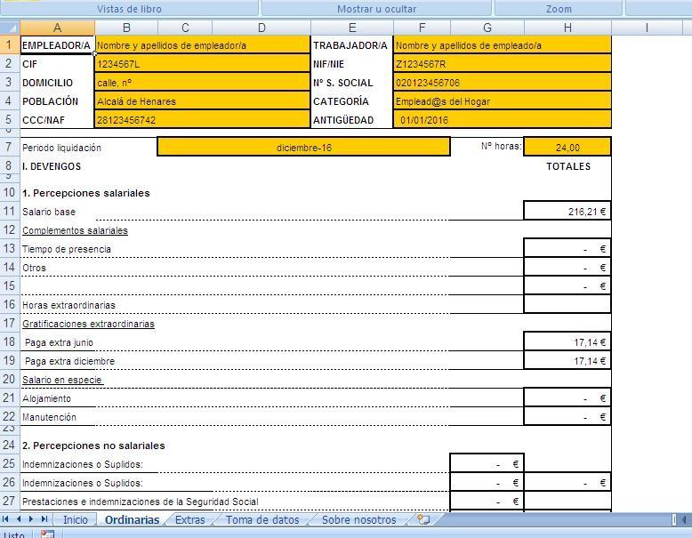 Programa de n minas de emplead s del hogar opiniones for Nomina de empleados en excel gratis