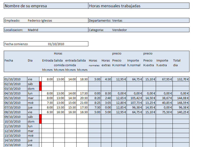 Salario mensual por horas Excel - Opiniones, precios y demo