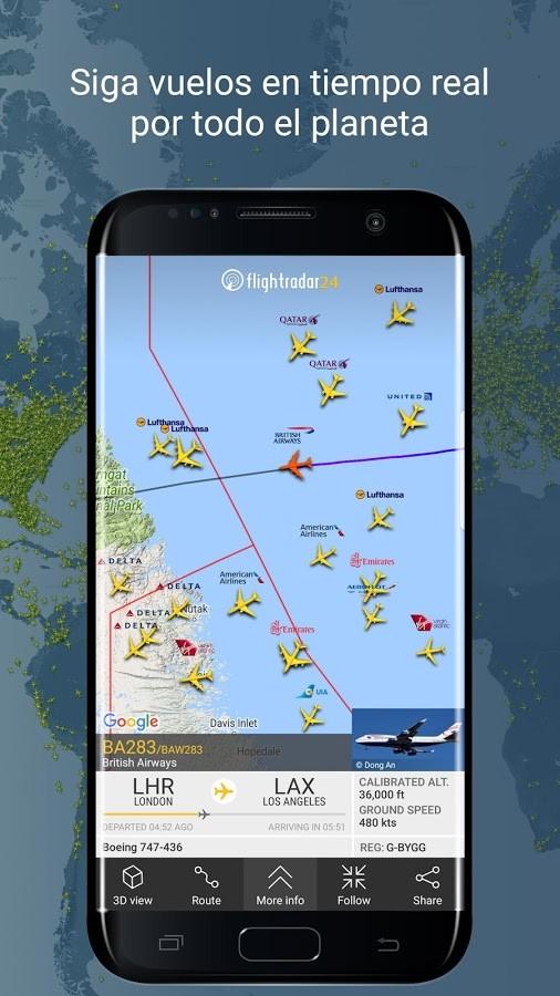 aplicación rastreo de vuelos