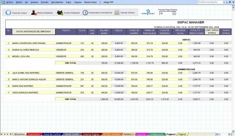 Sispac calcular la n mina opiniones precios y demo for Nomina de empleados en excel gratis