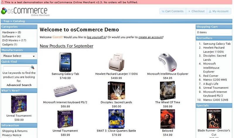OScommerce - Opiniones, precios y demo