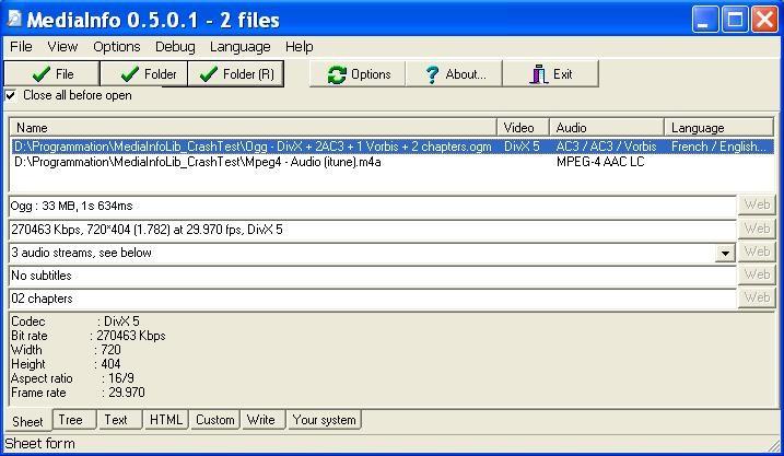 mediainfo pour windows 7