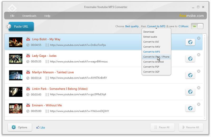 La interfaz de usuario es limpia y haciendo clic en el botón descargar  automáticamente convierte el video y se añade a la barra lateral.