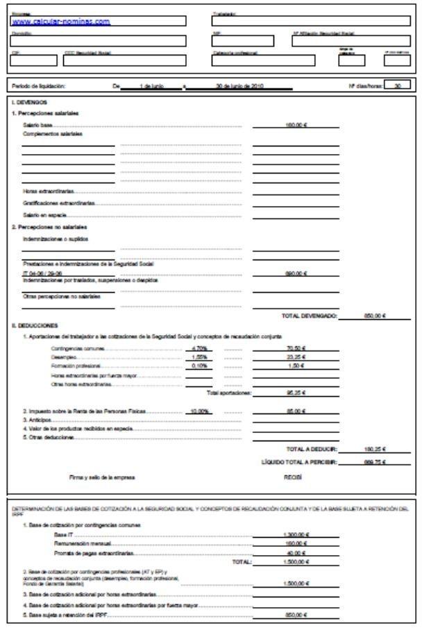 Confecci n n minas excel opiniones precios y demo for Nomina empleada de hogar rellenada