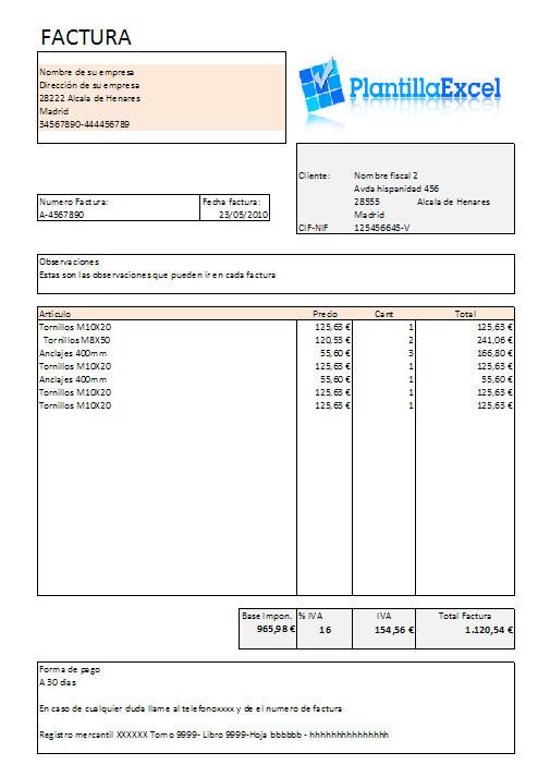 formato de facturas excel thevillas co