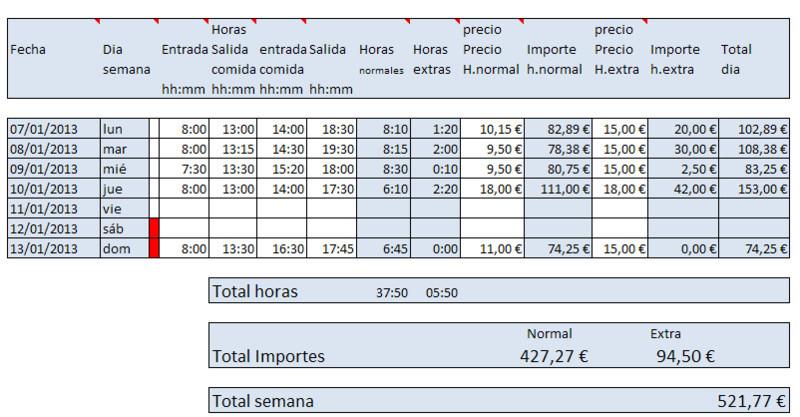 Horas trabajadas semanales en Excel - Descargar Gratis