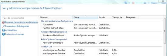 Complementos Internet Explorer