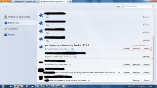 Desintalar complemento Firefox