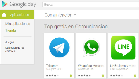WhatsApp, Telegram y LINE en Google Play