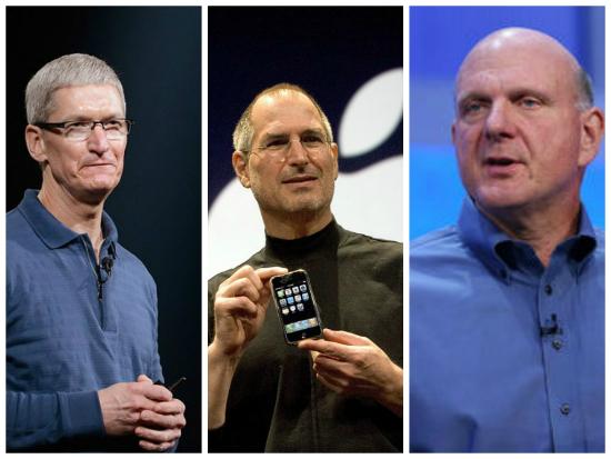 Tim Cook, Steve Jobs y Steve Ballmer