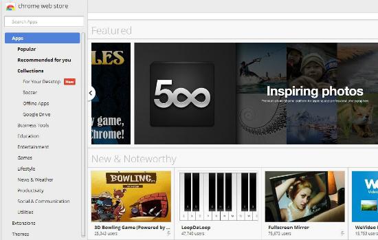 Página de inicio de la Chrome Web Store