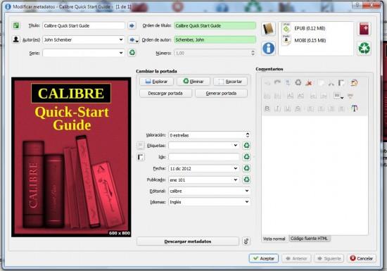 Modificar los datos de un libro con Calibre
