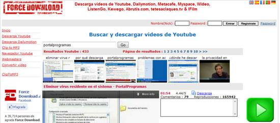 Descarga vídeos de Youtube de forma online con Force Download