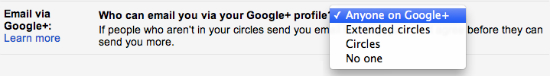 Opciones para activar o desactivar los mensajes de Google+