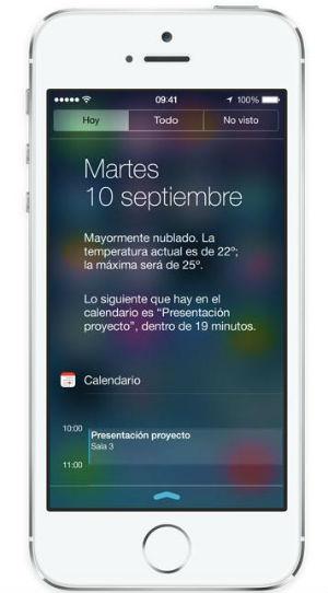 Hoy en el Centro de Notificaciones de iOS 7