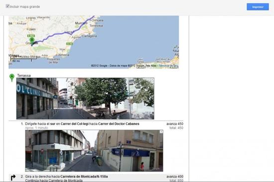Impirmir ruta con Google Maps