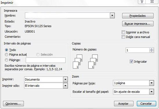 Microsoft Office no muestra la impresora predeterminada