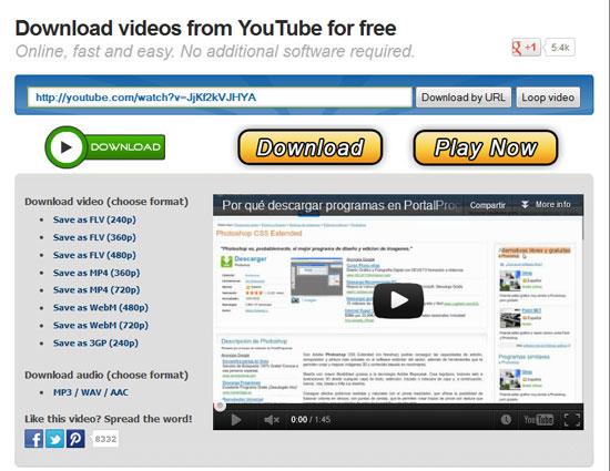 Reproduccion  de vídeos de Youtube y descargas online