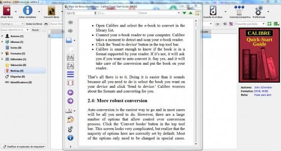 Lector de ebooks integrado en Calibre