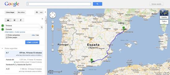 Modificar el trayecto en Google Maps