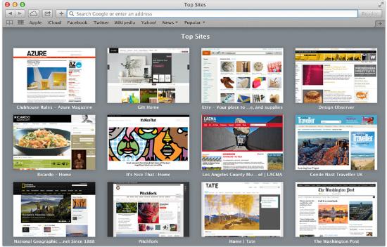 Aspecto de la nueva versión de Safari en Mac OS X Mavericks
