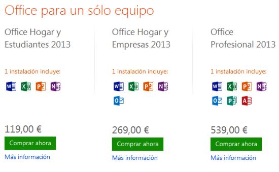 Precios de Microsoft Office