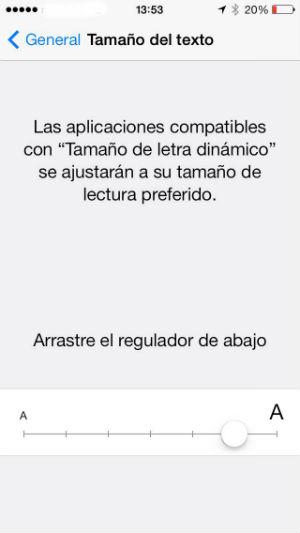 Cambiar el tamaño del texto en iOS 7
