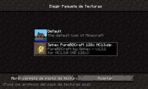 Minecraft, menú de texturas