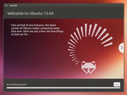 Pantalla de bienvenida a Ubuntu 13.04
