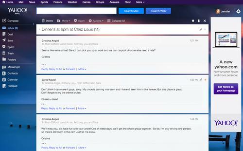 Correos de Yahoo! Mail agrupados en Conversaciones