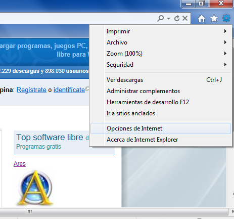 menu herramientas IE