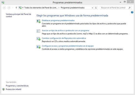 Formulario de programas predeterminados
